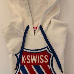 K-SWISS STARK WHITE HOODIE SWEATSHIRT - SIZE:SMALL